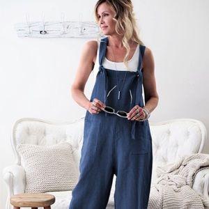 - - Blue Linen Jumpsuit Overalls